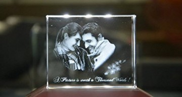 Personalized Rectangular 3D Photo Crystal with LED Light Base