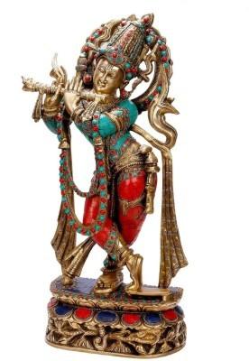 Collectible India Large Brass Krishna Idol Hindu God Gemstone Work Krishan Murti Showpiece - 55 cm