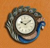 Decorative Wall Clock, Artistic Handcrafted Wooden Wall Decor Blue Peacock Clocks, Wedding Anniversary Birthday gift